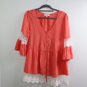 Umgee Long Sleeve Lace Top with Button Front